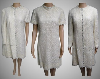 Vintage 1960s Dress | Matching Dress Coat | 60s Dress | Wedding Dress | Lee Jordan Dress | Rhinestone Dress | Lace Dress