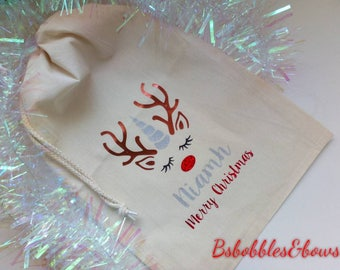 Personalised Christmas sack, unicorn, Christmas, stocking fillers, santa sack, Christmas stocking, customisable,