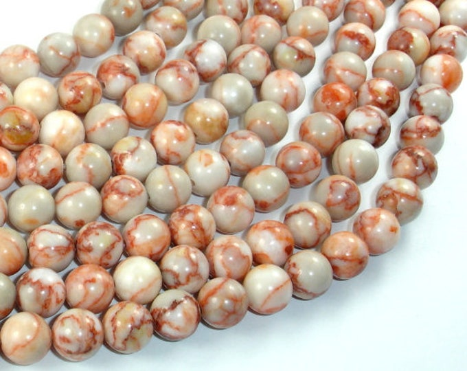 Red Line Jasper, 8mm (8.5mm) Round Beads, 15 Inch, Full strand, Approx 48 beads, Hole 1mm (373054004)