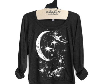 Small- Charcoal Black Tri-Blend Sweatshirt with Crescent Moon Galaxy Print