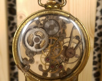 Hand crafted recycled watch mechanism sculpture The man