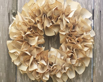 "Paper Wreath, Harry Potter, 18"" wreath, home decor, book lover wreath"