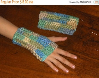 Seagrass Fingerless Texting Gloves. Handmade Crocheted Arm Warmers, Smoking Gloves, Adult sizes Shorty Handmade Crocheted made to order