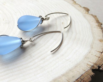 Sea Glass Earrings, Matte Finish, Sky Blue and Silver, Nautical Drop Earrings, Beach Vacation, Destination Wedding, Gift for Someone Special