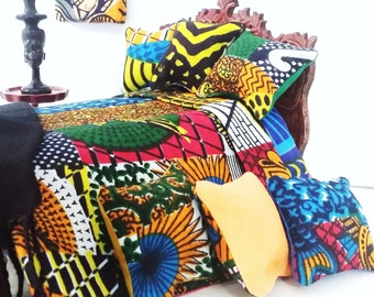 African Print Dollhouse Bedding Set/1:12 Scale Dollhouse Miniature Bedding Set/African Dollhouse Bed Set/ Modern Doll House/ Miniatures