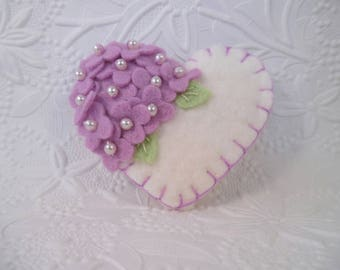 Purple Felt Flower Brooch Heart Beaded Flowers Mom Mothers Day