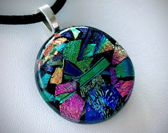 Dichroic Fused Glass Jewelry - Fused Glass Pendant , Fused Glass