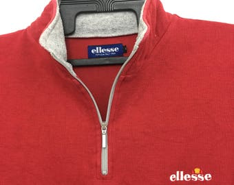 Vintage ELLESSE Sweatshirt Half Zipper Long Sleeve Jumper Small Size on tag