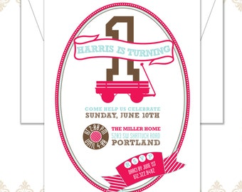 Red Wagon First Birthday Invite