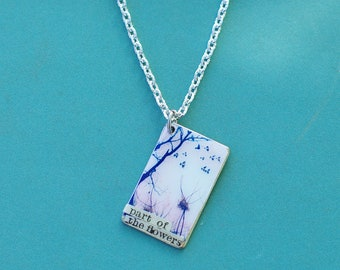 Part of the Flowers Necklace, Spring Necklace, Springtime Pendant Necklace, I Love You Letter Girlfriend Gift, Love Necklace, Birds Branches