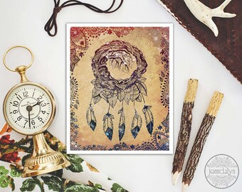 dream catcher print - bohemian decor - dreamcatcher art - prints - boho decor
