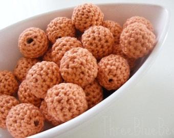 Peach Organic Crocheted Beads 12 Pieces