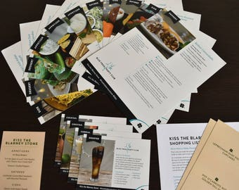 Kiss The Blarney Stone Recipe and Drink Cards Party Pack, 15 RECIPES INCLUDED!
