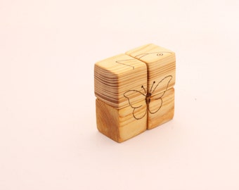 Wooden blocks puzzle |  Four pictures | Wooden puzzle | Wood toy | Childrens toy | Wooden toys | Gift for a girl | Gift for a boy