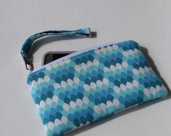 Wristlet, Zippered Pouch, Cell Phone Wristlet, Small Cosmetic Bag, Coin Purse