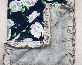 READY TO SHIP Minky blanket, baby girl blanket, baby gift, Floral blanket, Navy and grey, Navy and silver, Wildflower, Rose, Shabby Chic