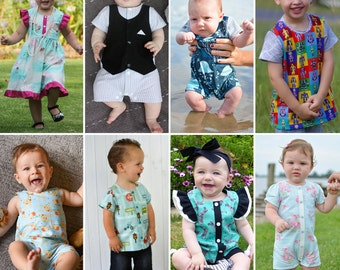 ZOO Collection for BABY 0000-4 Romper Shirt Tee Dress Singlet Swimmers Togs Bathers Playsuit All in one! Wovens & Knits PDF Sewing Pattern