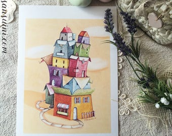 """Houses on houses - Watercolour illustration, from the """"Little houses"""" series, by Elisa Ansuini"""