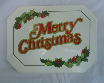 Vintage Merry Christmas Hot Mat by Wallcraft Made in USA, Hot Mat, Wallcraft a Bromac Company, Merry Christmas Hot Mat, Tin Hot Mat