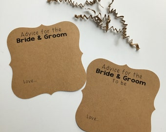 Advice Cards, Advice Cards for the Bride & Groom, Wedding Advice Cards, Words of Wisdom for the couple, Well Wishes, Wedding
