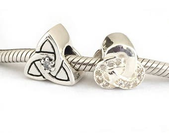 Celtic Knot Cubic Zirconia Sterling Silver Large Hole European Bead