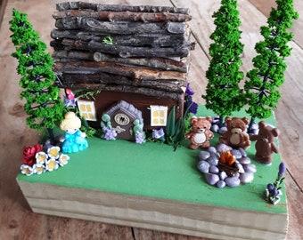 Goldilocks and the 3 bears log cabin