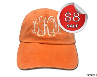 Monogram Hat on SALE - Baseball Cap - PD Tangerine Color Hat Only