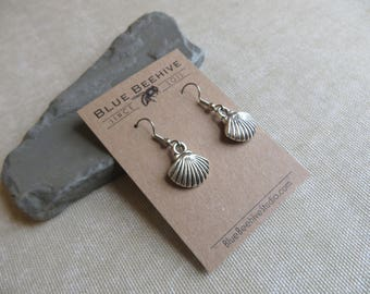 EBX13-41:  Nautical and beach jewelry, vacation jewelry, shell earrings, silver shells, shell dangle earrings, stainless steel ear wire