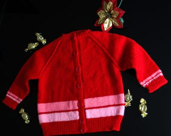 Hand knitted Red cardigan, Girls clothes, Handmade, size 1-3 years, from premium acrylic yarn