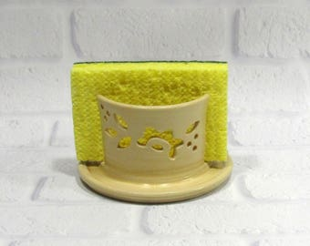 Sponge Holder - Ceramic Sponge Holder - Pottery Candle Holder - Kitchen Accessory - Pottery Sponge Caddy - Sponge Dryer - Napkin Holder