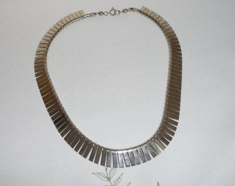Vintage Silver Plated Cleopatra Egyptian Revival Style Bib Collar Necklace