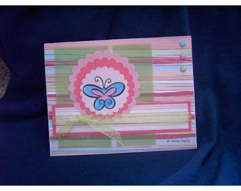 Hand-Stamped Summery Hello Card in Shades of Pink, Blue, Lime Green with Butterfly, Sparkles, Dotted Swiss, Vellum, Stripes, Circles