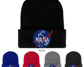 NASA INSIGNIA Logo Embroidered Patch Ribbed Cuffed Knit Beanie (1545K-INSIGNIA)