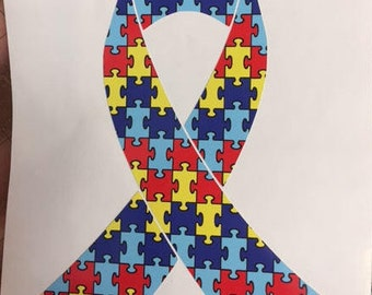 Autism puzzle awareness vinyl ribbon decal for car or home, autism awareness, autism ribbon, puzzle ribbon, autism family, autism mom, love