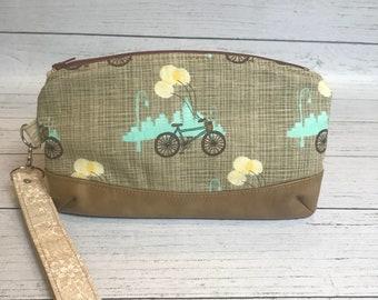 Bicycle Zipper Clutch, Makeup case, Wristlet, Cellphone Clutch,  Handbag Accessory, Wristlet Wallet, Gifts for her, Handmade Case, Gifts