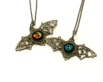 Batwing Eye Filigree Necklace Steampunk Bat Spooky Eye Handmade Gift