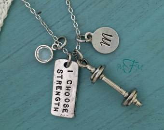 I Choose Strength Charm Necklace, Weight Loss Gift, Exercise Necklace, Workout Necklace, Workout Jewelry, Workout Gift
