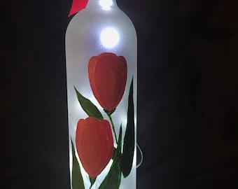 Pink Tulip Wine Bottle Lamp