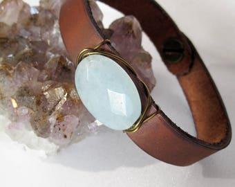 One of a Kind Polished Robin's Egg Jade and Leather Bracelet - Handmade Bohemian Jewelry - Boho Layering Jewelry - Blue Stone