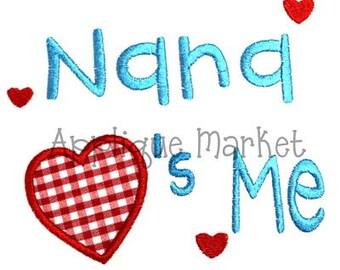 Machine Embroidery Design Applique Nana Hearts Me INSTANT DOWNLOAD