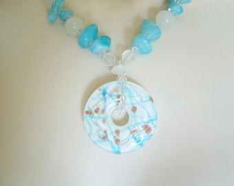 Blue Agate Necklace, boho jewelry gypsy jewelry hippie jewelry bohemian jewelry hipster new age necklace boho necklace bohemian necklace