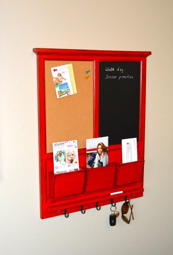 Chalkboard & corkboard Mail Organizer, Distressed RED over BLACK letter holder  Key / Coat / Hat rack - RusTic - Home Decor