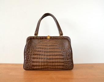 Vintage Faux Leather Bag // 1970s Womens Purse // Brown Handbag