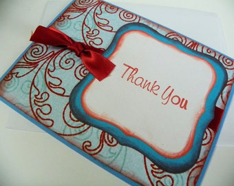 Red and Blue Thank You Card