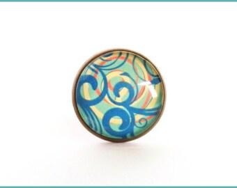 Ring adjustable brass cabochon blue swirls