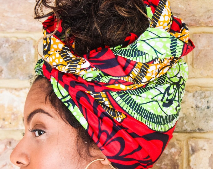 Featured listing image: African Green Red Print head wrap   Turban Wax print Head wrap   Ankara headscarf   African wax print Headband   Ladies Scarf   Print 1
