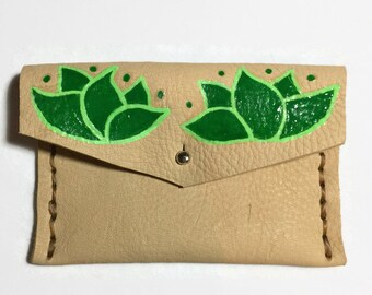 Leather Coin Purse - Green - Lather Coin - Mexican Flower