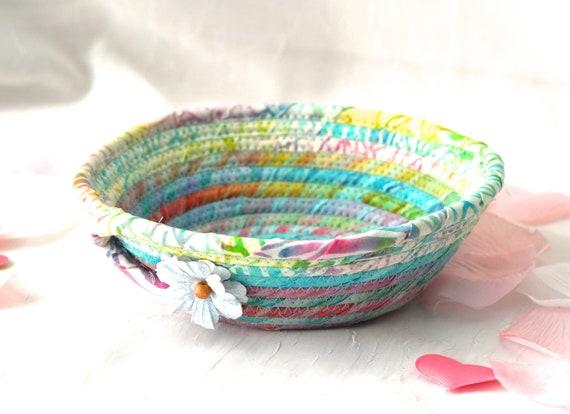 Artisan Boho Basket, Handmade Blue Batik Bowl, Candy Dish, Artisan Cotton Basket, Rustic Chic Fabric Bowl, Coiled Change Bowl