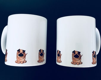 Pug dog mug by Desjigns