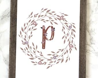Monogram Letter P Printable, Floral Monogram Letter P Printable, Letter P Wall Art, Letter P Printable, Monogram Printable, Initial Print